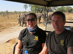 Jennifer Ritman and Andy Brinkworth with elephants